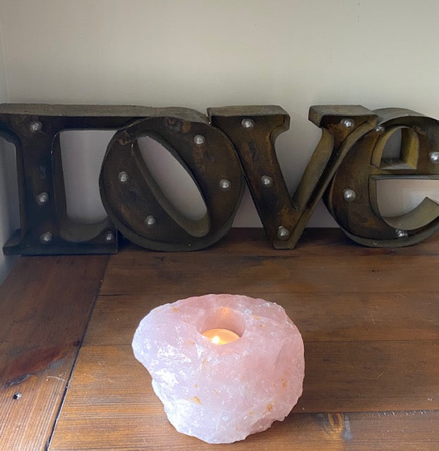 Rose Quartz Candle Holder