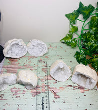 Load image into Gallery viewer, Small Clear Quartz crystal geodes, matching pair - home décor and table display