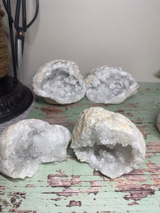 Small Clear Quartz crystal geodes, matching pair - home décor and table display