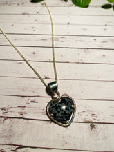 Load image into Gallery viewer, Snowflake Obsidian love heart pendant set in sterling silver