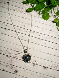 Snowflake Obsidian love heart pendant set in sterling silver