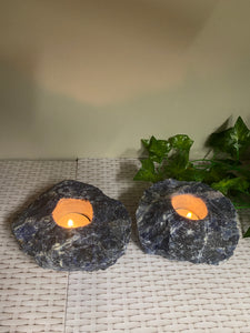 Set of 2 Sodalite tea light Candle Holder - natural stone