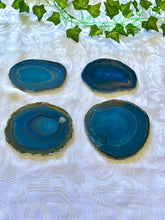 Load image into Gallery viewer, Teal polished Agate Slice drink coasters - set of 4