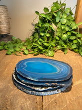 Load image into Gallery viewer, Teal polished Agate Slice drink coasters - set of 4 TCMD0003