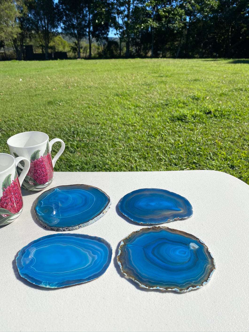 Teal polished Agate Slice drink coasters - set of 4 TCMD0003