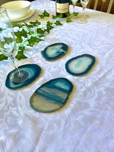 Teal polished Agate Slice drink coasters - set of 4 TCMD0006