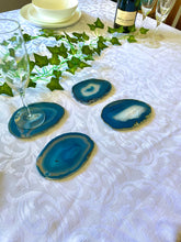 Load image into Gallery viewer, Teal polished Agate Slice drink coasters - set of 4 TCMD0007