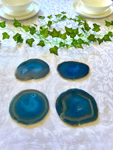 Load image into Gallery viewer, Teal polished Agate Slice drink coasters - set of 4 TCMD0008