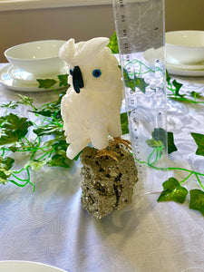 White Onyx hand carved Owl on Pyrite -  home décor or unique table piece