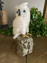 Load image into Gallery viewer, White Onyx hand carved Owl on Pyrite -  home décor or unique table piece