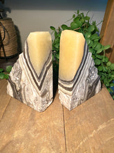Load image into Gallery viewer, Zebra Calcite book ends - home décor or office display
