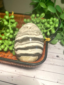 Zebra Calcite egg - office decor or unique home display piece