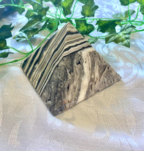 Load image into Gallery viewer, Zebra Calcite pyramid, paper weight or unique display piece - Large