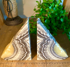 Zebra Onyx book ends, office display or home decor