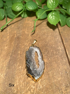 Natural Agate Geode pendant with Gold Electroplating - necklace