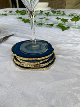 Load image into Gallery viewer, blue agate drink coasters with gold electroplating