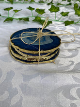 Load image into Gallery viewer, blue agate drink coastes with gold electroplating