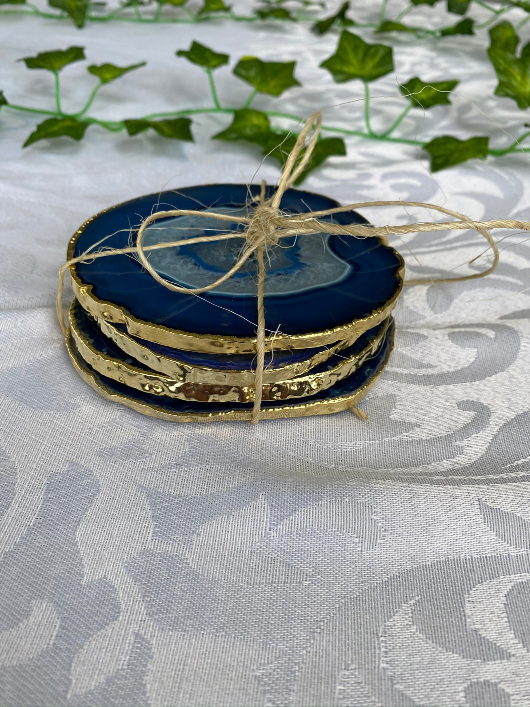 blue agate drink coastes with gold electroplating