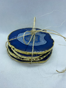 blue agate drink coasters with gold electroplating