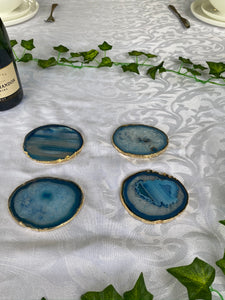 Blue polished Agate Slice drink coasters with Gold Electroplating - Set of 4