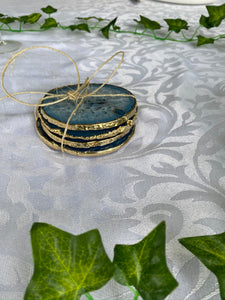 blue coloured agate drink coasters with gold electroplating 2