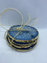 Load image into Gallery viewer, blue coloured agate drink coasters with gold electroplating 2