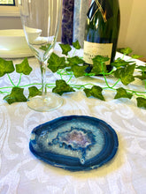 Load image into Gallery viewer, Blue polished Agate Slice drink coasters with Amethyst crystals inside - single slice
