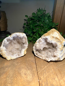 clear quartz geode pair