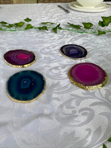 coloured agate drink coasters with gold electroplating
