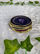 Load image into Gallery viewer, coloured agate drink coasters with gold electroplating