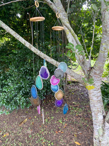 coloured agate windchime, patio or home decor