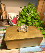 Load image into Gallery viewer, gold trinket or jewellery box with pyrite handle, home decor