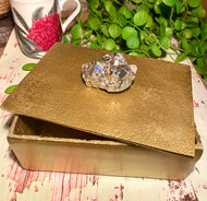 gold trinket or jewellery box with pyrite handle, home decor