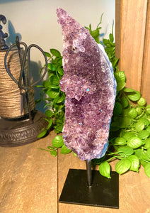 Natural Amethyst Crystal on black display stand - table piece