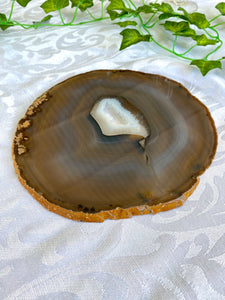 large Natural agate polished slice - unique cheese board or serving platter