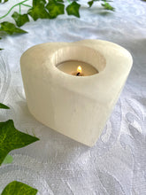Load image into Gallery viewer, Love heart Selenite tea light Candle Holder