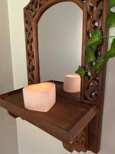 Love heart Selenite tea light Candle Holder