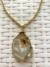Load image into Gallery viewer, Natural Agate Geode pendant with Gold Electroplating - necklace