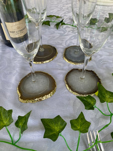 natural agate slice drink coasters with gold electroplating