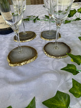 Load image into Gallery viewer, natural agate slice drink coasters with gold electroplating