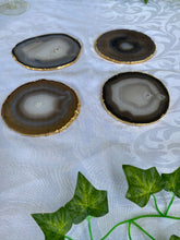 Load image into Gallery viewer, Natural polished Agate Slice drink coasters with Gold Electroplating - Set of 4