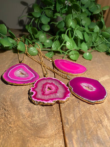 Pink Agate pendant with Gold Electroplating - necklace
