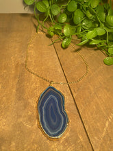 Load image into Gallery viewer, Blue Agate polished slice pendant with Gold Electroplating - necklace