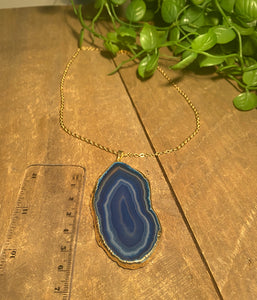Blue Agate polished slice pendant with Gold Electroplating - necklace