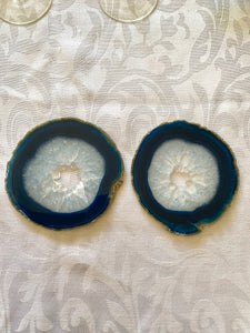 polished blue agate slice drink coasters - set of 2