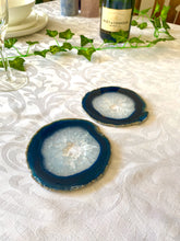 Load image into Gallery viewer, polished blue agate slice drink coasters - set of 2