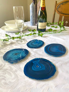 polished blue agate slice drink coasters - set of 4