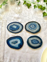 Load image into Gallery viewer, polished blue agate slice drink coasters - set of 4