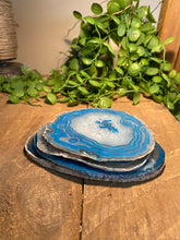Load image into Gallery viewer, polished teal agate slice drink coasters - set of 4 TCMD0001