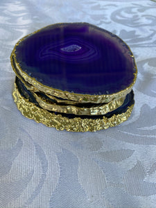 purple agate slice drink coasters with gold electroplating 2